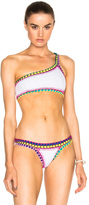 Kiini Yaz One Shoulder Bikini Top in White,Purple.