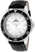 Seapro Tideway Mens Silver-Tone Dial and Black Leather Strap Watch