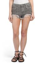Juniors Large Studded Cutoff Denim Shorts