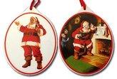 Kurt Adler Coca-Cola Santa Porcelain Oval Ornaments Set 2