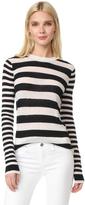 Joseph Stripe Round Neck Cashmere Sweater