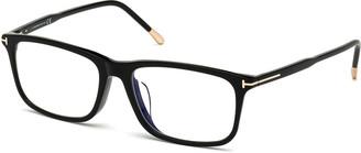 Tom Ford Men's Blue Block Rectangle Acetate Optical Frames