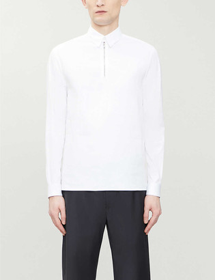 Emporio Armani Zip-neck oversized cotton-blend polo shirt