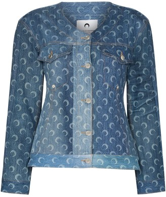Marine Serre Crescent Moon-Print Recycled-Cotton Denim Jacket
