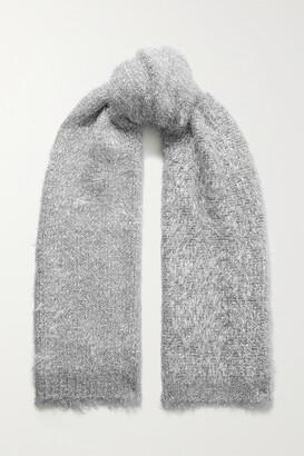 Dries Van Noten Timothea Metallic Knitted Scarf - Silver