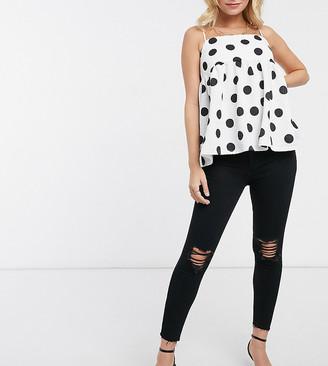 New Look Petite ripped disco skinny jeans in black