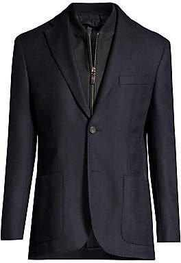 Corneliani Men's ID Leather-Trim Cashmere Jacket