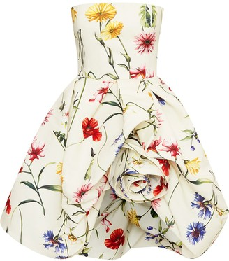 Oscar de la Renta Floral Strapless Puffball Dress