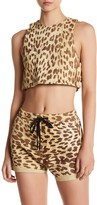 One Teaspoon Genuine Leather Jackson Cheetah Print Crop Top Tank
