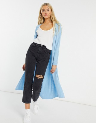 New Look knitted maxi cardigan co-ord in blue