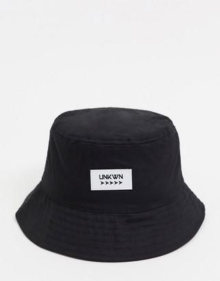 ASOS DESIGN canvas bucket hat with logo in black