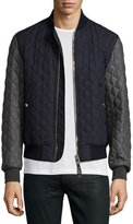 Burberry Colorblock Quilted Bomber Jacket, Navy