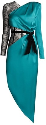 Ralph and Russo Mixed Media Asymmetric Silk Dress