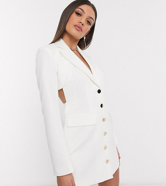 4th + Reckless Petite exclusive cut out back blazer dress in white