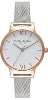 Olivia Burton Women's White Dial Mesh Bracelet Strap Watch