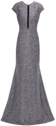 Lela Rose Tulle-paneled Sequin-embellished Tweed Gown