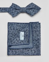 Minimum Bow Tie And Pocket Square Set In Floral