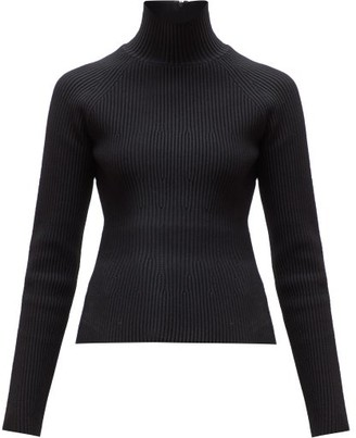 Carolina Herrera Roll-neck Ribbed Sweater - Womens - Black