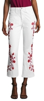 AG Adriano Goldschmied Jodi Cotton Floral Embroidery Flared Pant