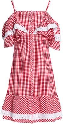 Walter W118 By Baker Carter Cold-shoulder Ruffled Gingham Cotton-poplin Dress