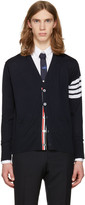 Thom Browne Navy Classic V-Neck Cardigan