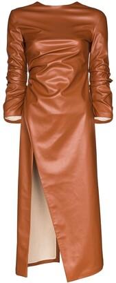 A.W.A.K.E. Mode faux leather midi dress