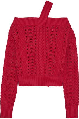 RtA Beckett Off-the-shoulder Cable-knit Cotton Sweater