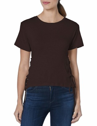 Buffalo David Bitton Women's Short Sleeve Roundneck Knit top with lace up Side Detail