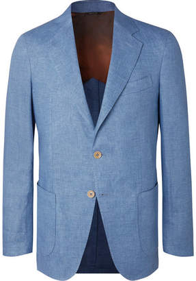 Loro Piana Light-Blue Unstructured Linen-Chambray Blazer