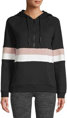 Andrew Marc Drawstring Striped Hoodie