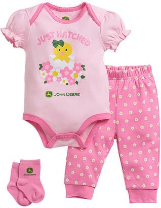 John Deere Infant Bodysuits SOFT - Soft Pink 'Just Hatched' Bodysuit & Joggers Set - Infant