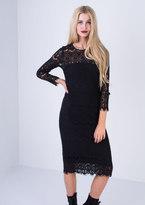 Missy Empire Krista Black Crochet Lace Midi Dress