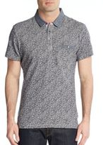 Saks Fifth Avenue Trim-Fit Chambray-Trimmed Paisley Cotton Polo
