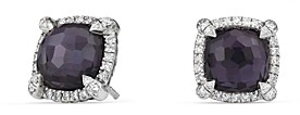 David Yurman Chatelaine Pave Bezel Earrings with Black Orchid and Diamonds