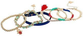 GUESS Six-Piece Mixed Media Bracelet Set (Gold/Blue/Red) Bracelet