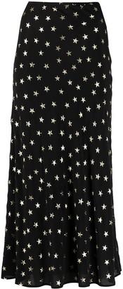 Rixo Star-Print Midi Skirt
