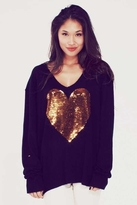 Wildfox Couture Sequin Gold Heart V-Neck Sweater in Clean Black