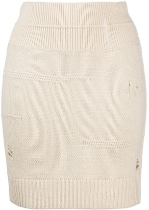 Helmut Lang High-Rise Ripped Knitted Skirt