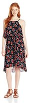 Angie Juniors' Floral High-Neck Popover Dress
