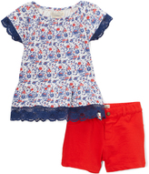 Lucky Brand Bright White Grace Floral Top & Shorts - Infant & Toddler