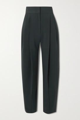 Low Classic Pintucked Crepe Wide-leg Pants - Navy