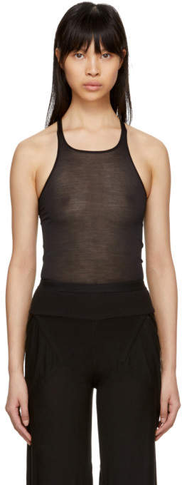 Rick Owens Lilies Black Silk Tank Top