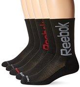Reebok Men's 5 Pack Performance Crew Oversize Logo Sock Red