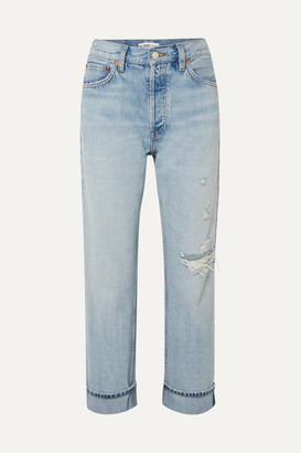 RE/DONE 90s Cropped Distressed High-rise Straight-leg Jeans - Light denim