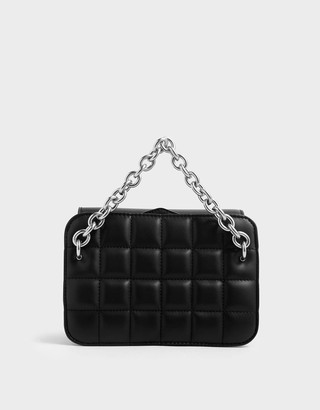 Charles & KeithCharles & Keith Chunky Chain Strap Quilted Shoulder Bag