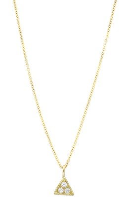 Bony Levy 18K Yellow Gold Pave Diamond Petite Triangle Pendant Necklace - 0.07 ctw