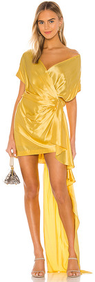 Mason by Michelle Mason Wide Neck Wrap Mini Dress