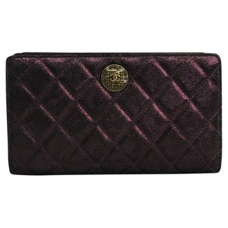 Chanel Purple Cloth Wallets