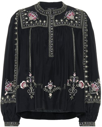 Isabel Marant Dyron embroidered silk blouse
