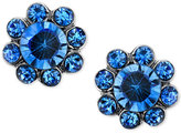 2028 Silver-Tone Blue Crystal Floral Stud Earrings, a Macy's Exclusive Style